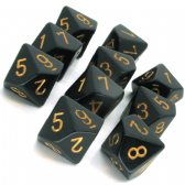 Black & Gold Opaque D10 Ten Sided Dice Set